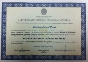 Diploma Gustavo Scheid Prass
